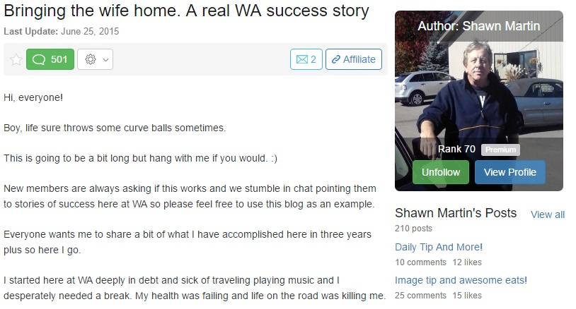 A real Wealthy Affiliate Success Story