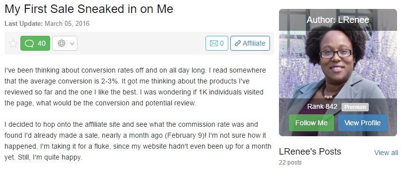 My First Wealthy Affiliate Sale