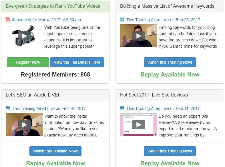 Wealthy Affiliate Live Training Sessions
