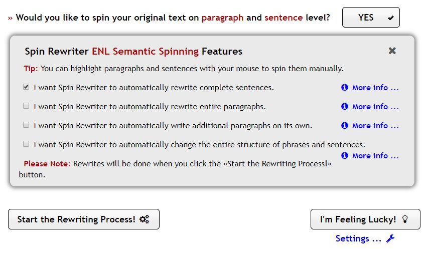 ENL Semantic Spinning
