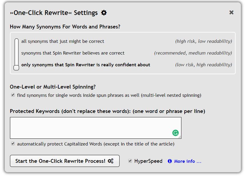 Spin Rewriter 7.0 Step 2