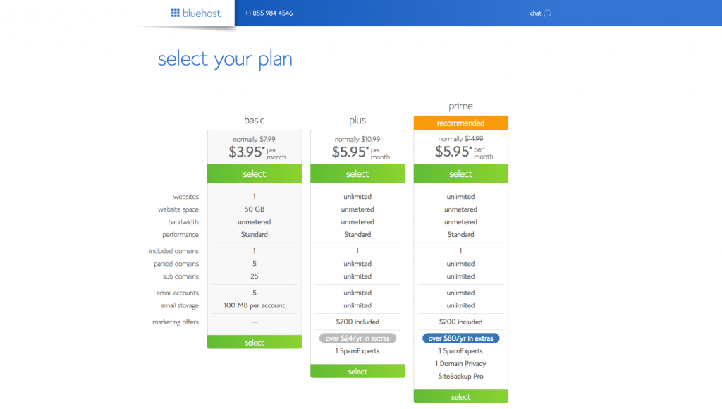 Select a Bluehost plan